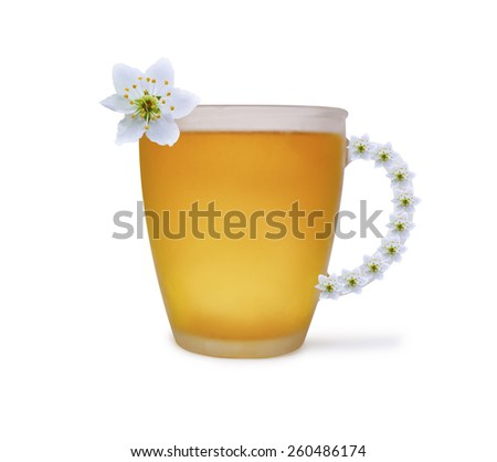 tea composition with flower - stock photo