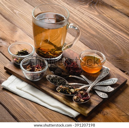 tea composition with honey on wood