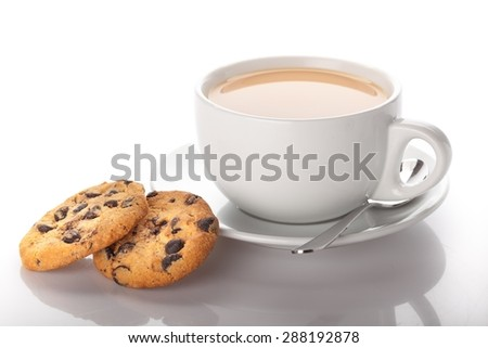 Tea, Cookie, Coffee. - stock photo