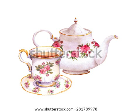 Tea cup and tea pot with flowers. Watercolor - stock photo