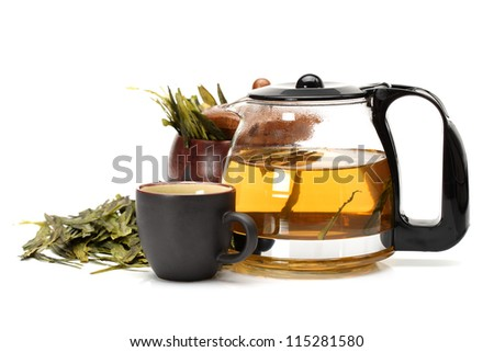 tea cup and teapot of tea on white background