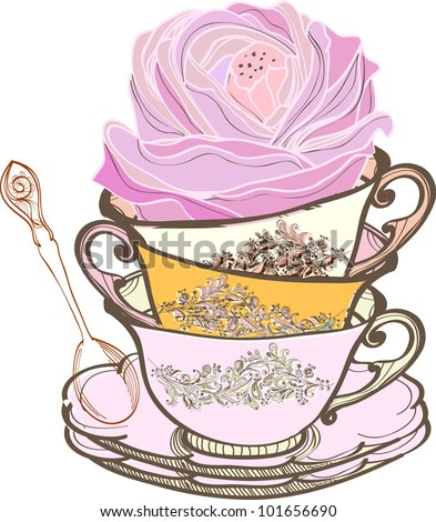 tea cup background with spoon and flower, illustration - stock photo