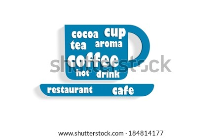 tea cup icon with tags cloud