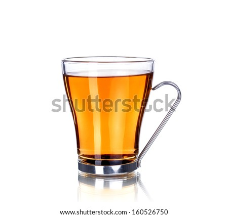 Tea cup, isolated on white - stock photo