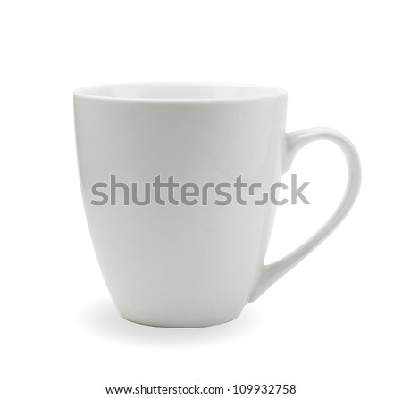 tea cup isolated on white front view - stock photo