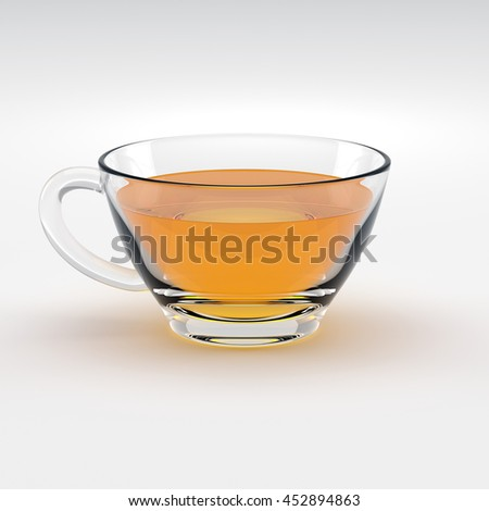 tea cup on white - 3d illustration