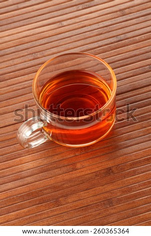 Tea Cup on wooden background - stock photo