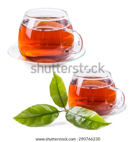 Tea cup set isolated on white - stock photo