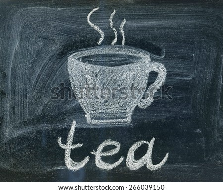 Tea cup sign on a chalkboard - stock photo