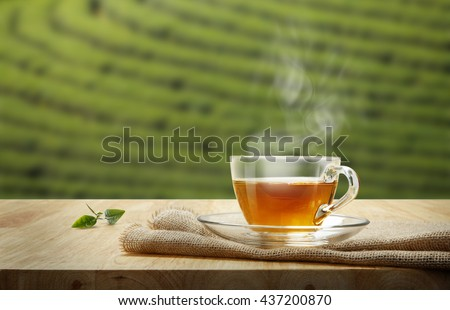 Tea cup with and tea leaf sacking on the wooden table and the tea plantations background - stock photo