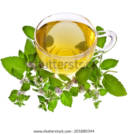 Tea cup with mint leaves isolated on a white background - stock photo