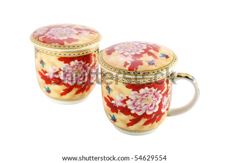 Tea cups on a white background