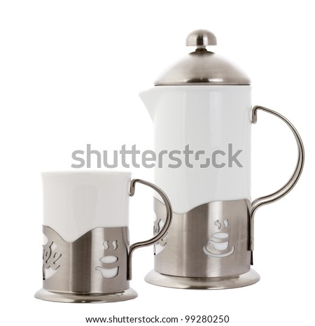 tea cups with teapot isolated on white. - stock photo