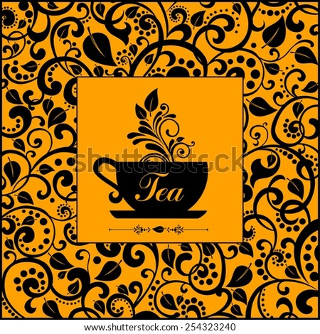 Tea. Cute tea time card. Cup with floral design elements. Menu for restaurant, cafe, bar, tea-house.  illustration - stock photo