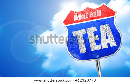 tea, 3D rendering, blue street sign
