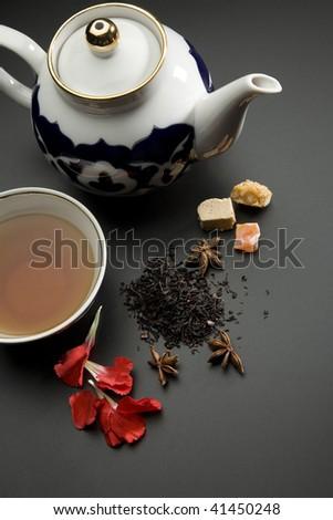 Tea drinking in the Asian style - stock photo