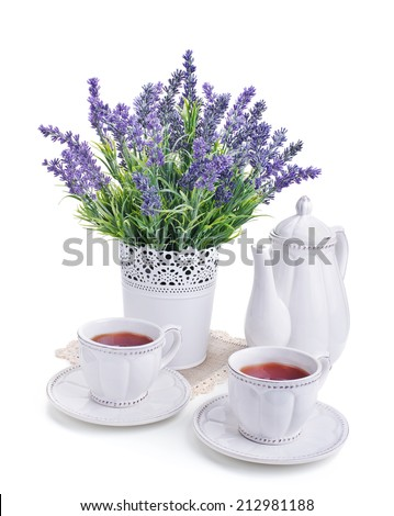 tea for two and lavender flowers isolated on white background - stock photo