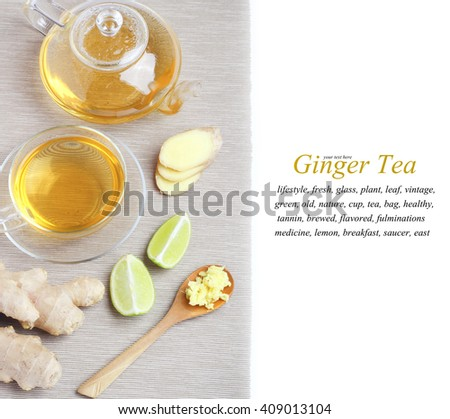 Tea Ginger cup kettle isolated white background