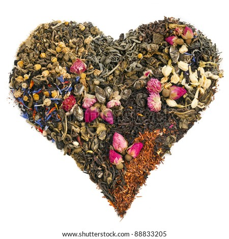 tea heart of different tea : green, black, floral , herbal  isolated on white background - stock photo