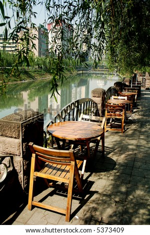 Tea house by the river in Sichuan,west of China - stock photo