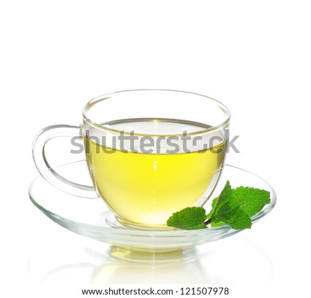tea in cup with leaf mint  isolated on white background - stock photo