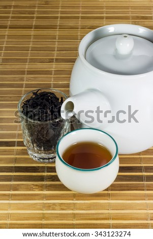 Tea in cup with tea leaf
