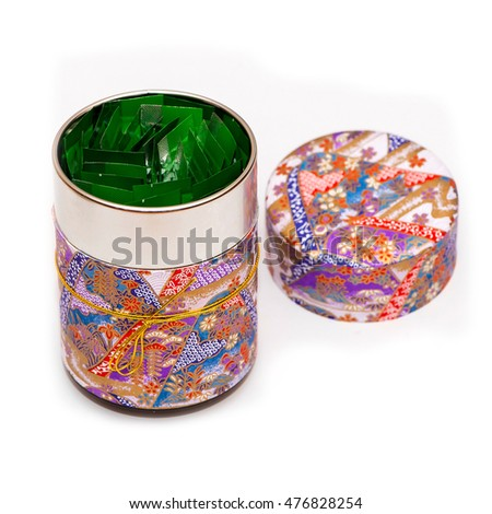 Tea in gift box on white background