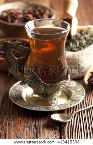 Tea in the glass  - stock photo