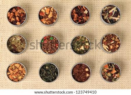 Tea leaves, different varieties. - stock photo