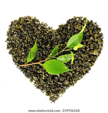 Tea love concept, heart of tea leaves - stock photo