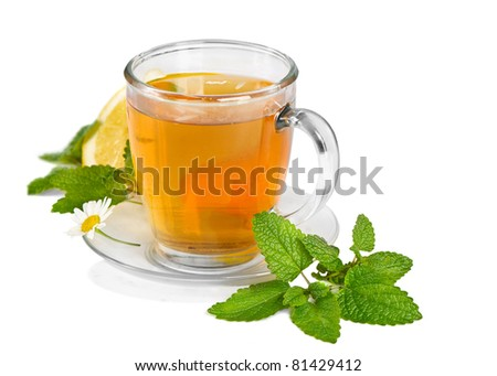 Tea,mint  and flowers