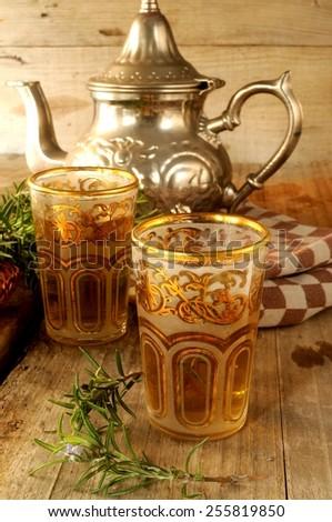 tea morroco typical beverage  - stock photo