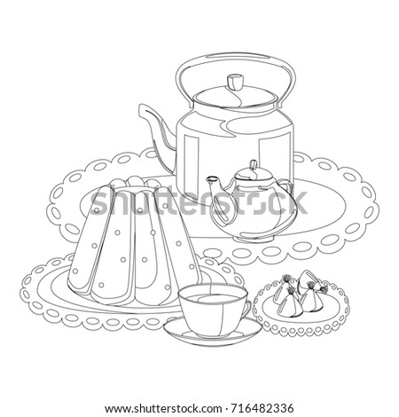 Tea Party Outline Drawing Coloring Pudding Stock Illustration ...