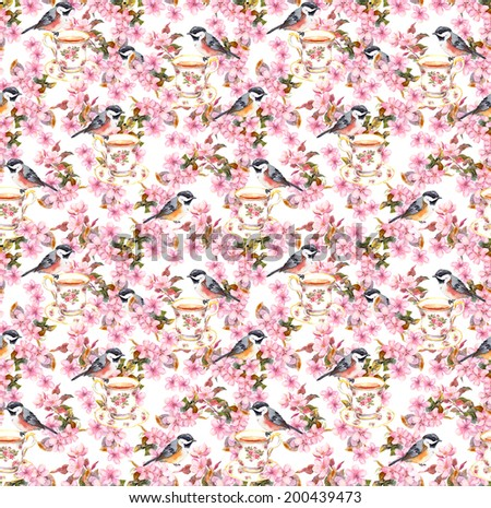 Tea party - teacup, bird and blossom flowers. Seamless floral wallpaper. Watercolor design on white background