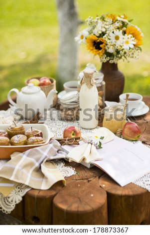 tea party with baked apples