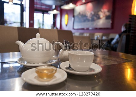 Tea pot coffee cup in shop - stock photo