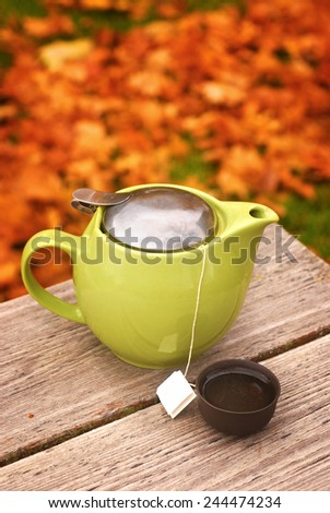 Tea pot with cup on autumn table - stock photo