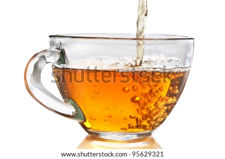 tea pouring isolated on a white background - stock photo