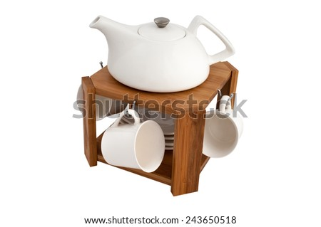 tea service on a wooden stand isolated on white background - stock photo