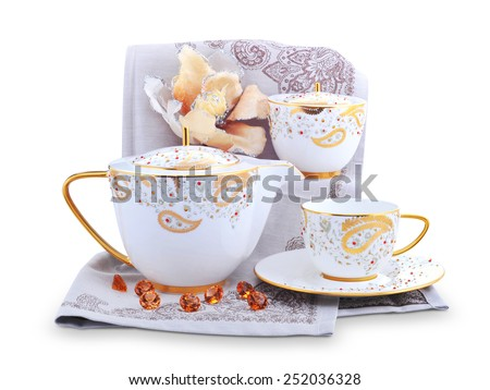 Tea service set isolated on white background | flower and tea service - stock photo