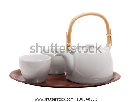 tea set and tray isolated on white