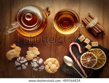 tea sweet sugar cookies on a wooden table (top view)