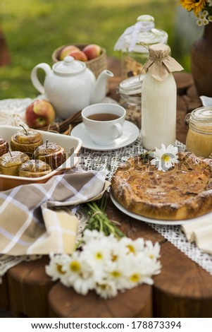 tea sweet table - stock photo