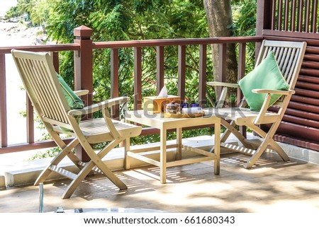 Tea Table And Chairs At Balcony Sea Side