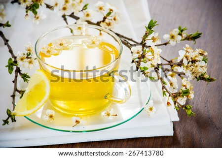 Tea tastefully served with rustic. - stock photo