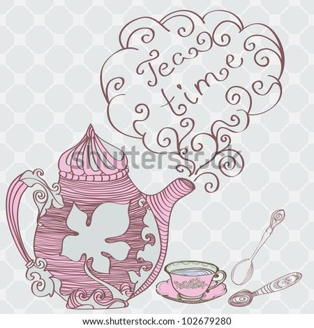 Tea time background, illustration - stock photo