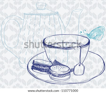 tea time background with cup,cookies and butterfly - stock photo