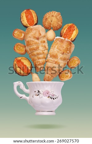 Tea Time. Retro poster with various pastry.  - stock photo