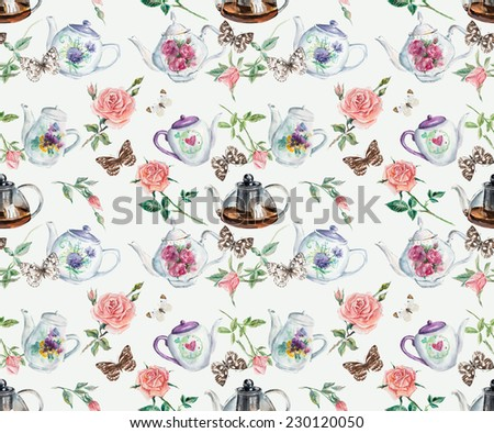 Tea Time seamless. Cake, roses, butterflies. Background. Watercolor hand drawn illustration. - stock photo