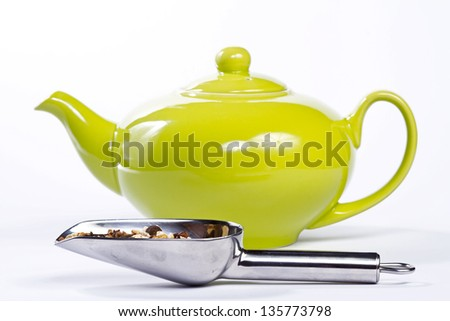 Tea with a green pot